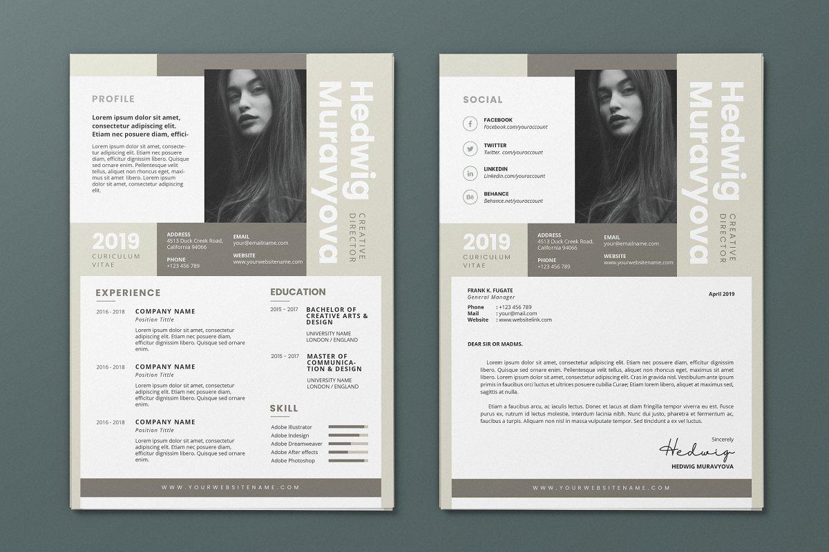 Minimalist CV Resume AI and PSD 7