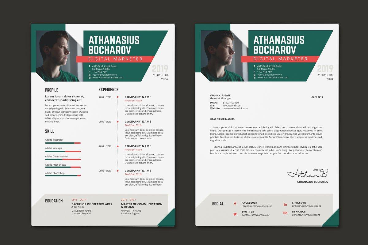Minimalist CV Resume AI and PSD 9