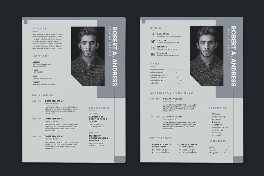 Minimalist CV Resume AI and PSD 11