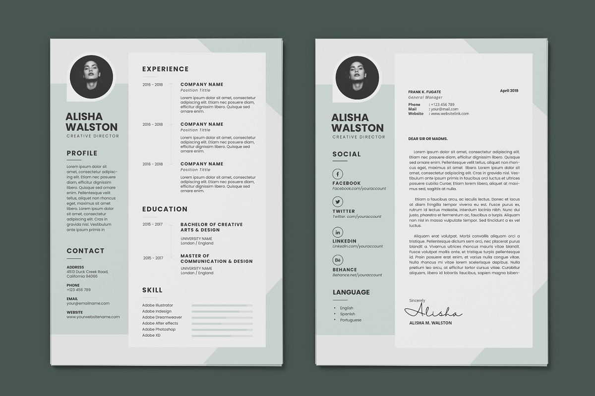 Minimalist CV Resume AI and PSD 15