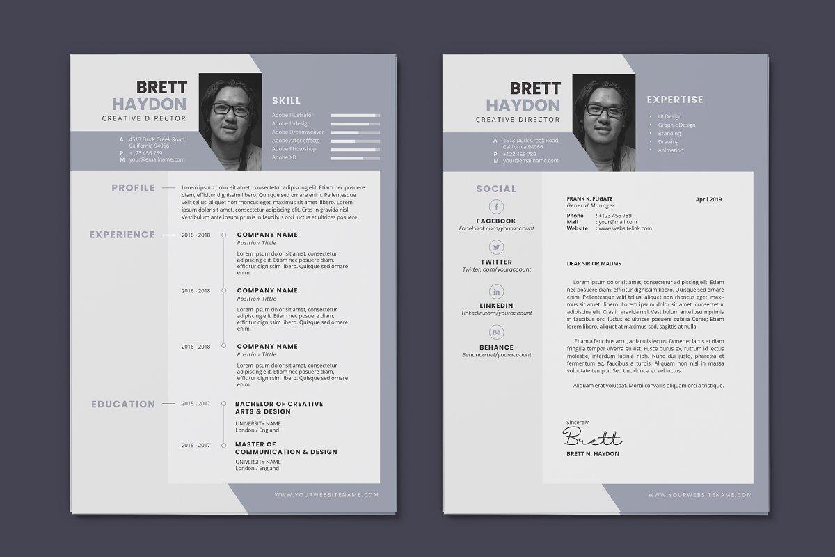 Minimalist CV Resume AI and PSD 16