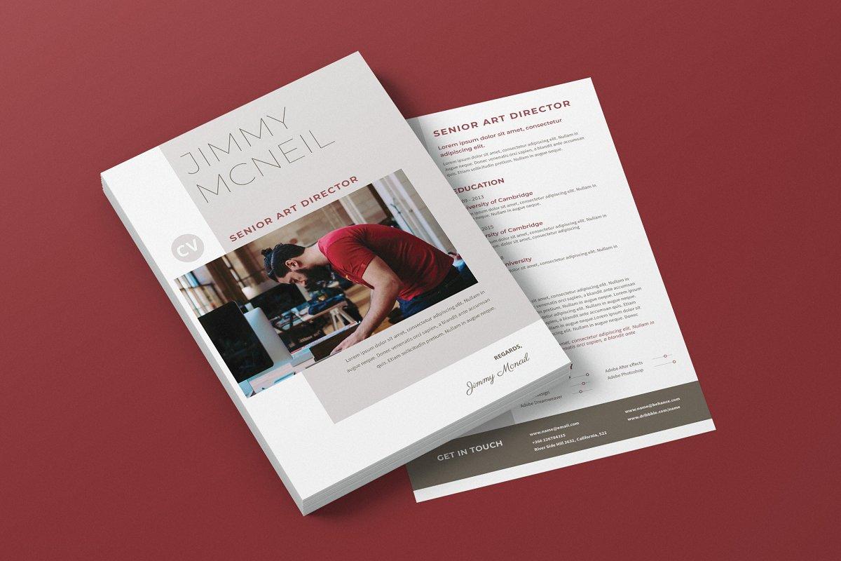 Minimalist CV Resume AI and PSD 17