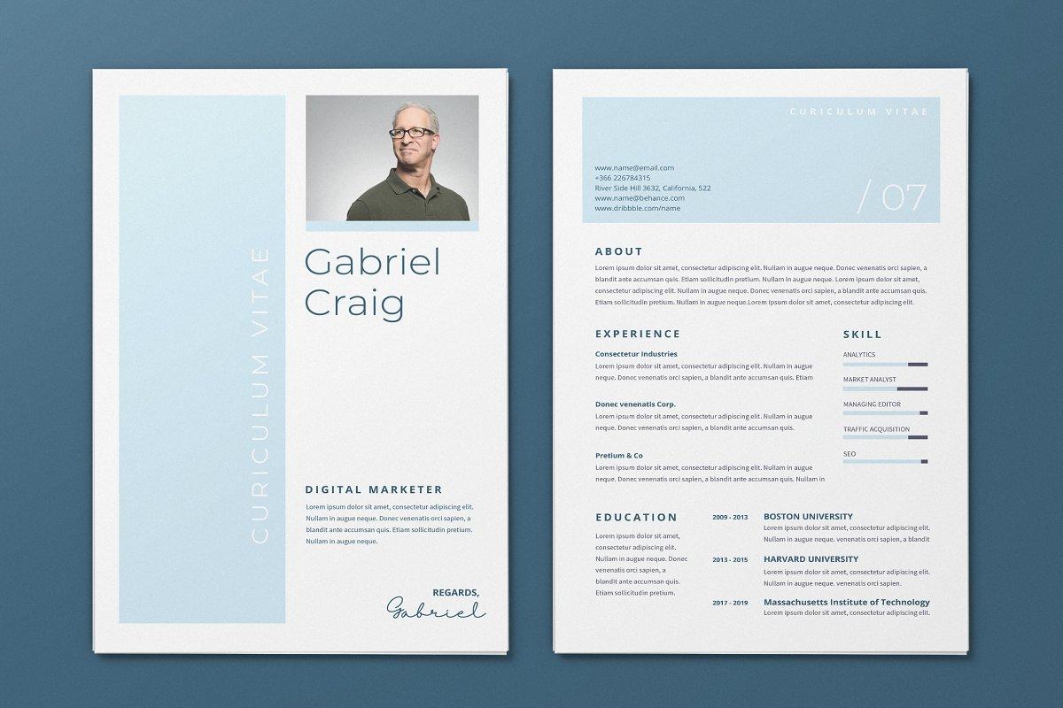 Minimalist CV Resume AI and PSD 18