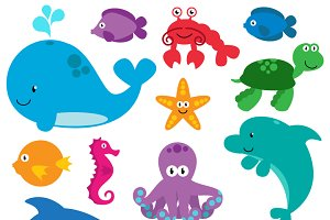 Sea Animals Vectors and Clipart