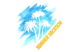 Watercolor Summer Vacation Palms