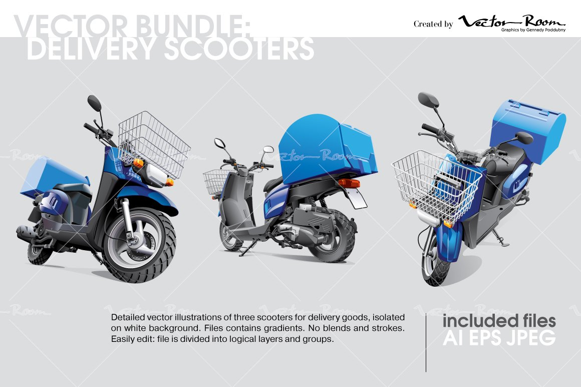 vector bundle delivery scooters graphics creative market