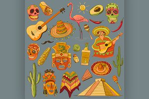 Hand drawn Mexico icons set