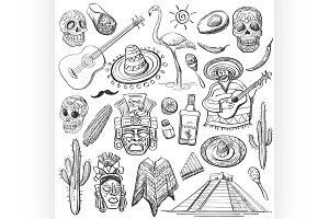 Hand drawn vector set of mexican