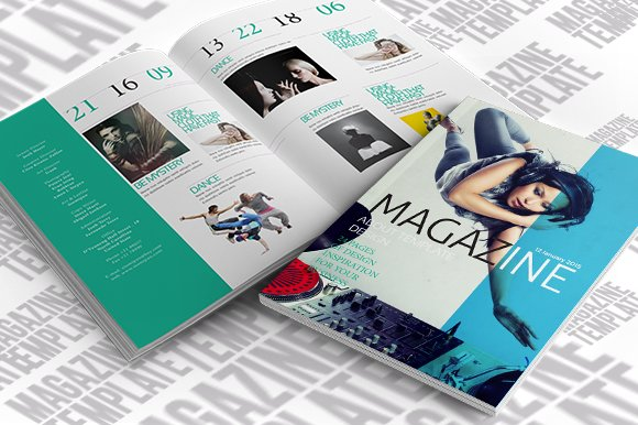 indesign magazine template magazine templates creative market. Black Bedroom Furniture Sets. Home Design Ideas