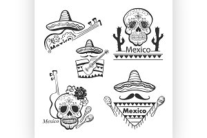 Mexican set of labels and stickers