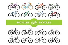 Realistic Bicycles Set
