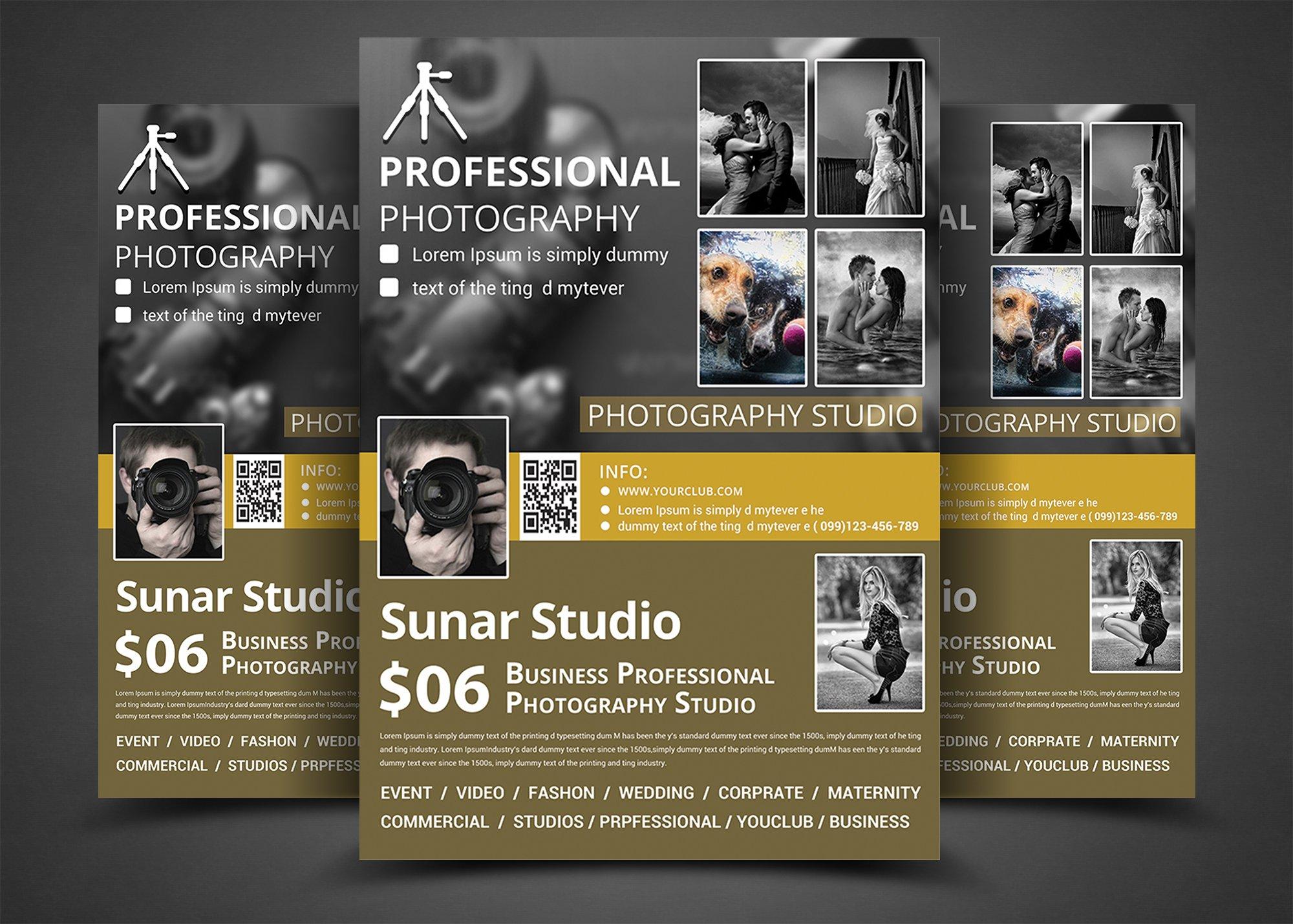 photography studio flyer templates flyer templates creative market. Black Bedroom Furniture Sets. Home Design Ideas