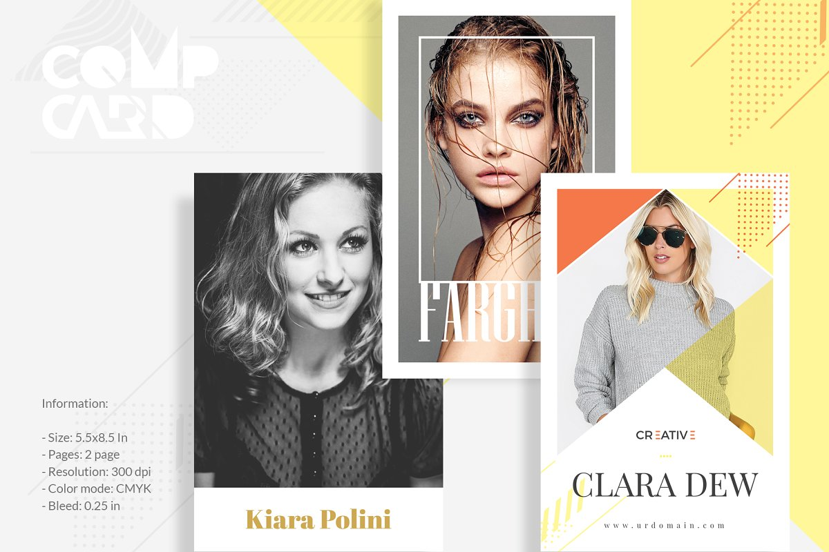 3 Model Comp Card Template Bundle