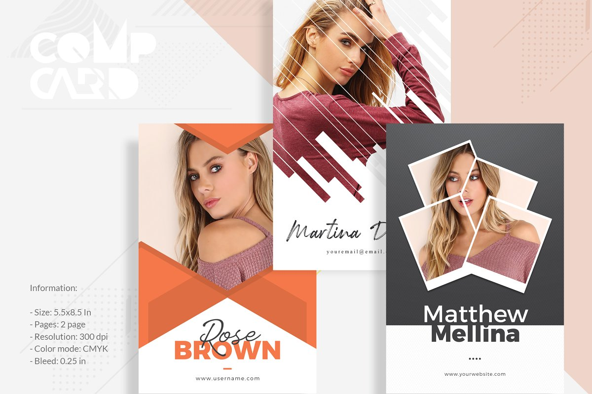 3 Model Comp Card Template