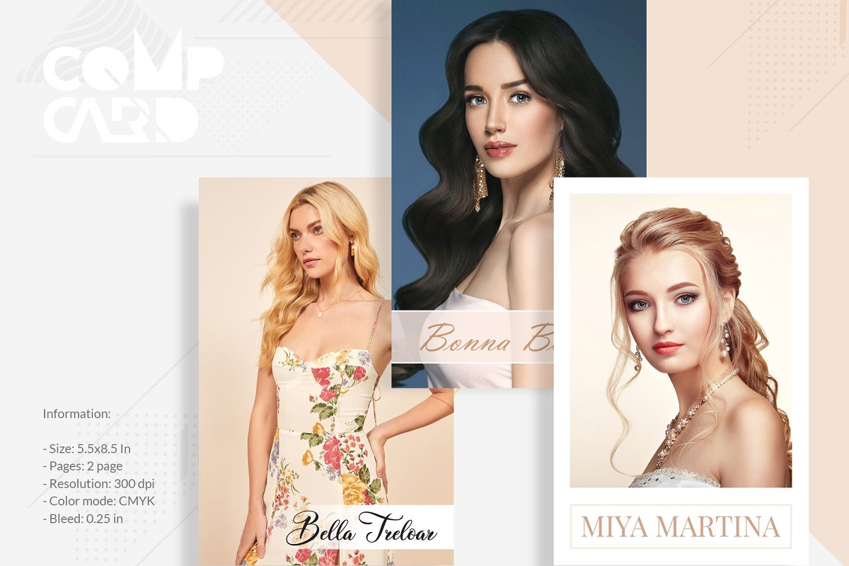 3 Modeling Comp Card Template