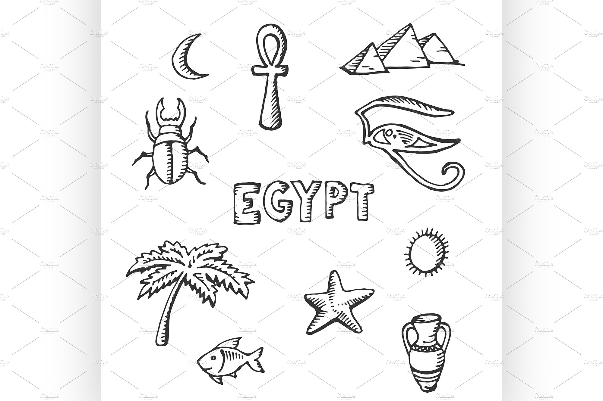 Sketch Collection Of Egyptian Symbol Illustrations Creative Market