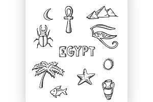 sketch collection of Egyptian symbol