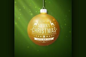 yellow merry christmas ball
