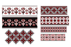 Ukrainian Seamless Ornaments Set