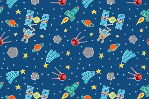 Seamless Space Doodle Pattern