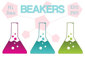 Science Beaker Icons, Clipart Vector