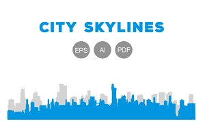 5 Gray and Blue City Skylines