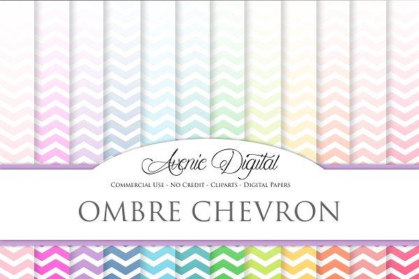 Ombre Chevron Digital Papers Custom Designed Graphic Patterns Creative Market
