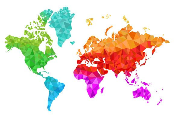 geometric world map in colors illustrations creative market