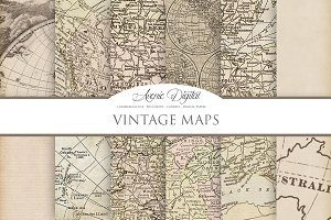 Vintage Maps Digital Backgrounds