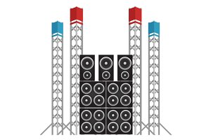 Concert Speakers and Light Rigs