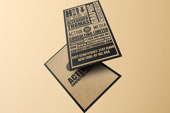 kraft paper typography business card business card templates creative market - Kraft Paper Business Cards