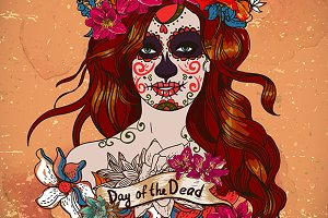 Girl with Sugar Skull Face