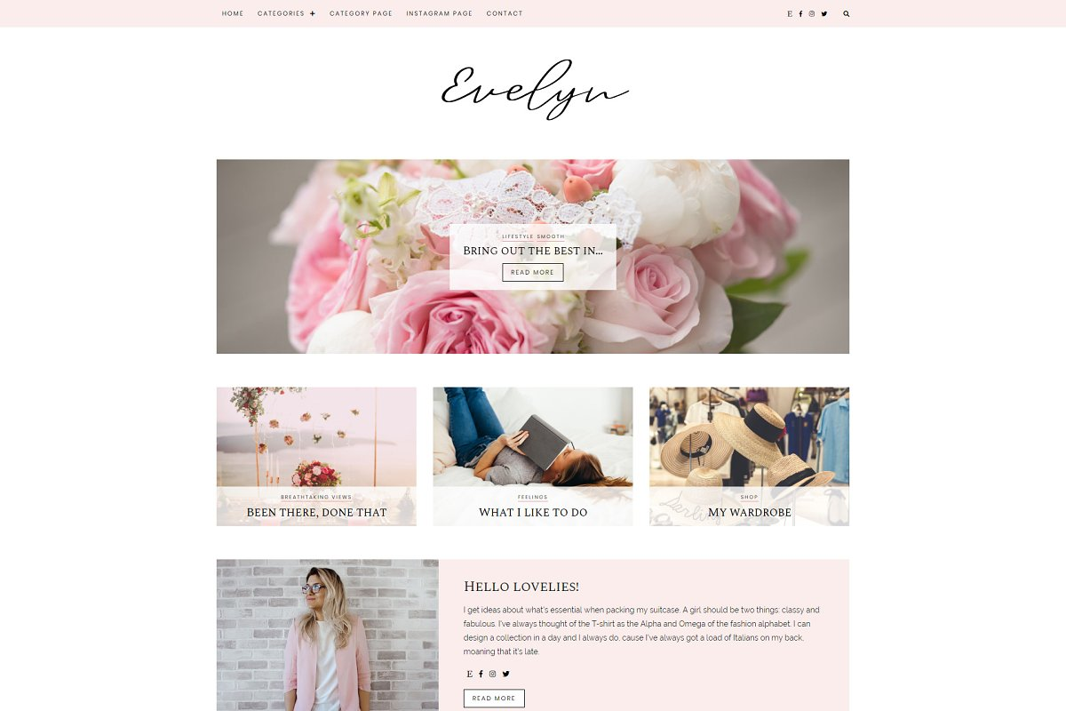 WordPress Blog Theme - Evelyn