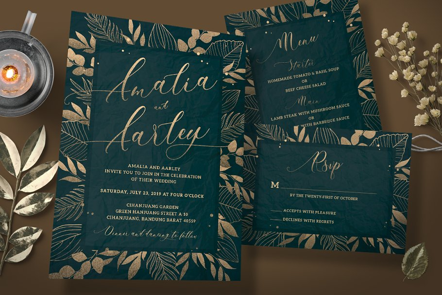 Gold Foliage Wedding Invitation