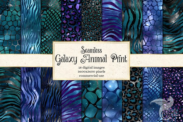 Galaxy Animal Print Digital Paper