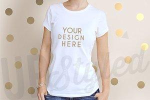 F162 Woman's White T-shirt Mock Up