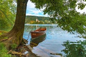 Boat on lake Bled