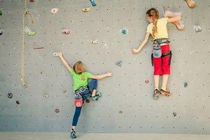 climbing on rockwall