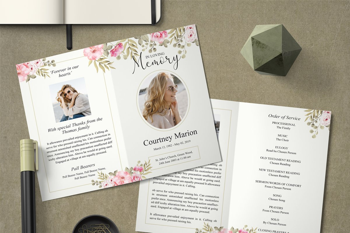 Rose Gold Floral Funeral Program