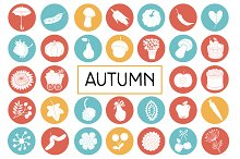 Autumn Flat Icon Pack. Vegetables
