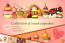 Collection of sweet cupcakes