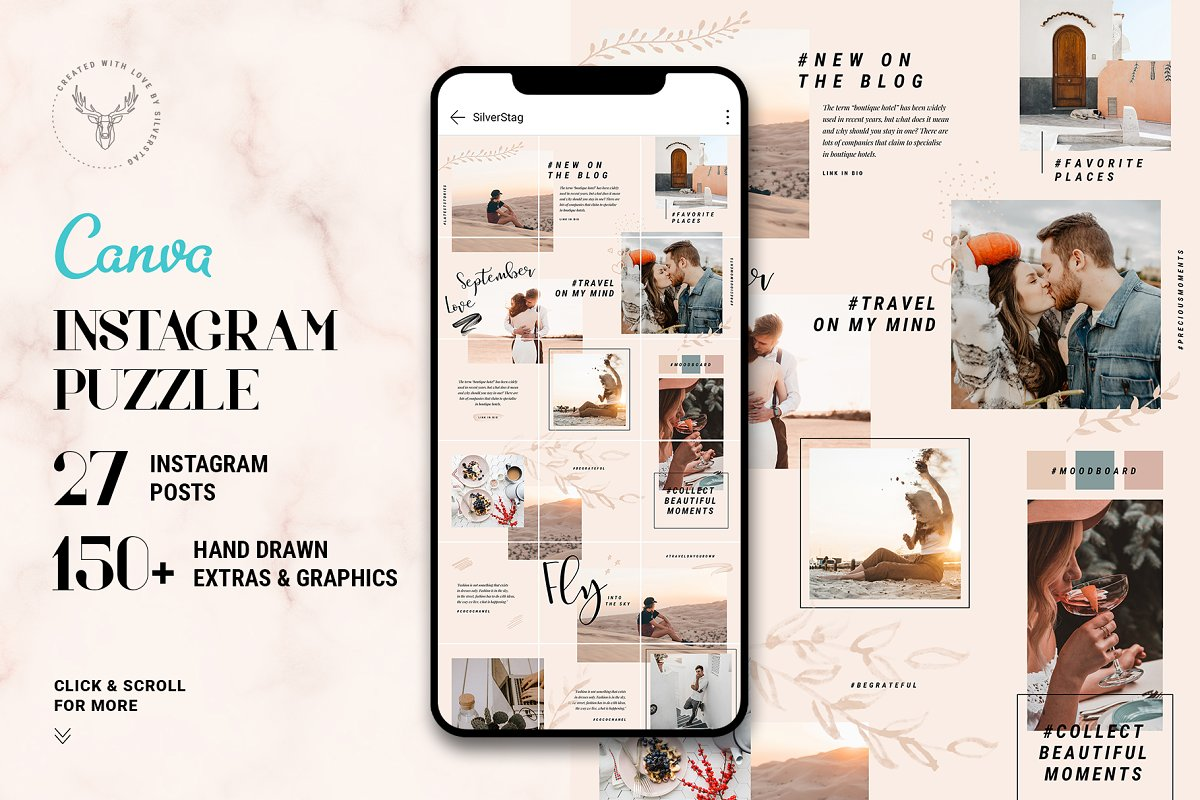 #InstaGrid 5 - Canva Puzzle Template