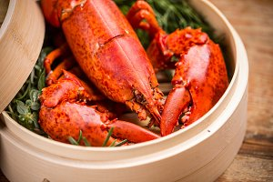 Steamed lobster