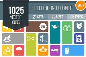 1025 Flat Round Corner Icons (V2)