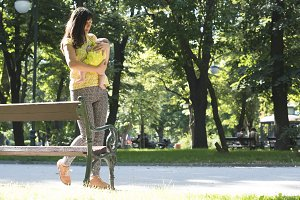 Women and baby in a park