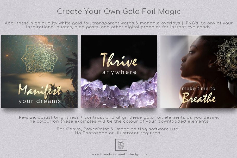 Gold Foil Power Words & Mandalas