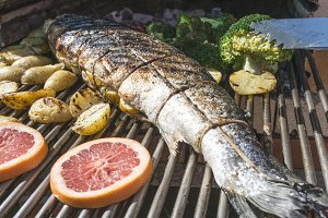 Roasting salmon fish on grill.