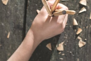 Vintage natural wooden pencils