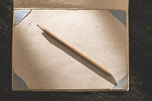 Vintage pencil and drawing paper