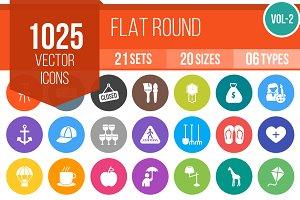 1025 Flat Round Icons (V2)